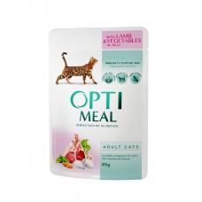 Optimeal konserv.toit kassidele talleliha ja juurviljadega tarretises 85g.