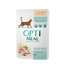 Optimeal konservtoit täiskasvanud kassidele küülikulihaga valges kastmes  85g.